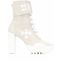Off-White Ankle Boot Com Velcro - Cinza