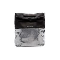 Paco Rabanne Black And Silver Folding Leather Clutch Bag - Preto