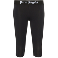 Palm Angels Calça Legging Cropped Com Logo - Preto