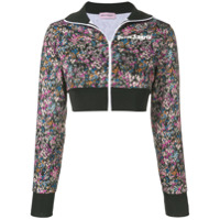 Palm Angels Jaqueta Esportiva Cropped Floral - Preto