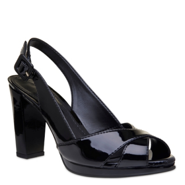 Peep Toe Verniz Black