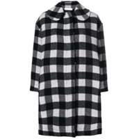 Peter Jensen Raw Edge Check Coat - Preto