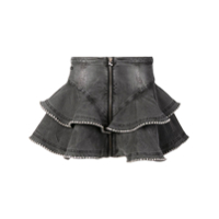 Philipp Plein Short Ruffled Skirt - Cinza