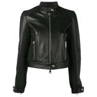 Pinko Cropped Leather Jacket - Preto