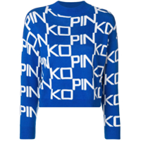 Pinko logo funnel neck sweater - Azul