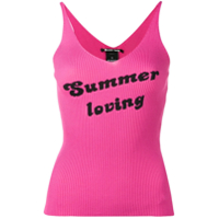 Pinko Ribbed Knitted Slogan Vest - Rosa