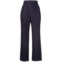 Pleats Please By Issey Miyake Cropped Flared Trousers - Roxo