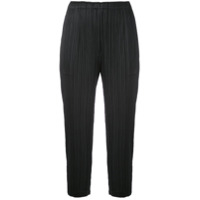 Pleats Please By Issey Miyake Cropped Jogging Trousers - Preto