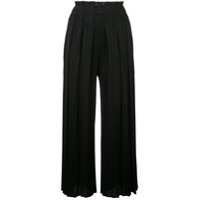 Pleats Please By Issey Miyake Cropped Micro-Pleated Trousers - Preto