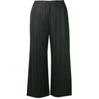 Pleats Please By Issey Miyake Micro Pleated Cropped Trousers - Preto