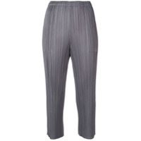 Pleats Please By Issey Miyake Plissé Cropped Trousers - Cinza