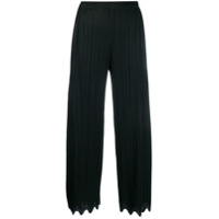 Pleats Please By Issey Miyake Wave-Hem Cropped Trousers - Preto