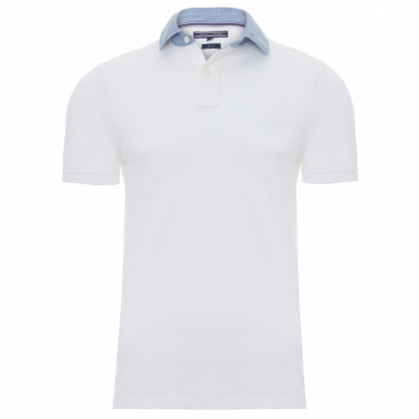Polo Masculina Denim Collar - Branco