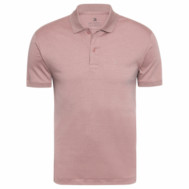Polo Masculina Oxford Manga Curta - Marrom