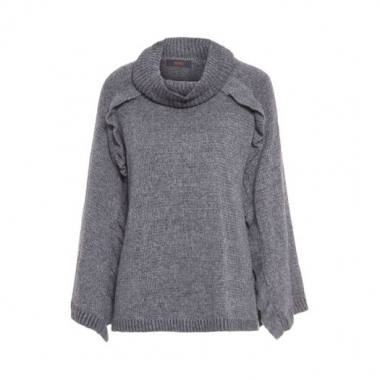Poncho Tricot Babados Animale - Cinza