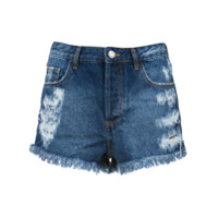Pop Up Store Short Jeans Com Desfiados - Azul