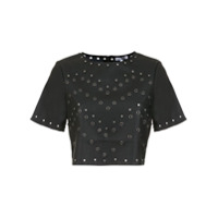 Pop Up Store Top Cropped Com Aplicações - Preto