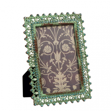 Porta-Retrato De Metal Envelhecido Decorativo Com Strass Hedge