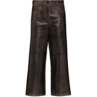 Prada Cropped Leather Trousers - Preto