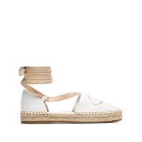 Prada White Ankle Tie Canvas Espadrille Sandals - Branco
