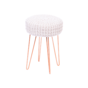 Puff Chico Croche Base Metal Cobre Branco Inovakasa