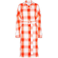 Pushbutton Check-Print Puff-Sleeve Trench Coat - Vermelho