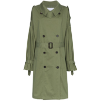 Pushbutton Trench Coat Midi - Verde