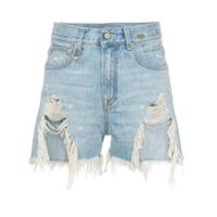 R13 Shredded Slouch Denim Shorts - Azul