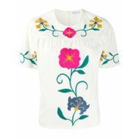 Red Valentino Camiseta Com Bordado Floral - Neutro