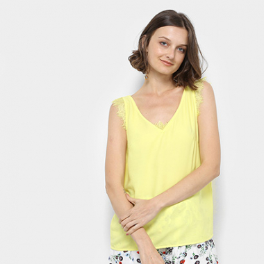 Regata Lily Fashion Renda Feminina-Feminino