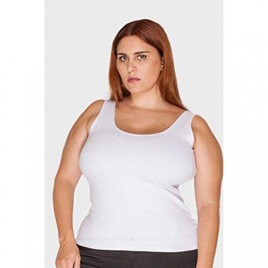 Regata Supplex Plus Size Branco-52/54