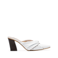 Reike Nen White 80 Knot-Detail Leather Mules - Branco