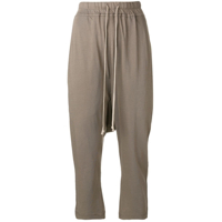 Rick Owens Drkshdw Cropped Drop Crotch Trousers - Cinza