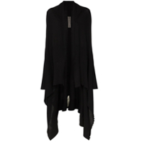 Rick Owens Long Sleeve Wool Draped Cardigan - Preto