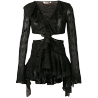 Roberto Cavalli Cut Out Bell Sleeved Top - Preto