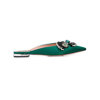 Rochas Embellished Bow-Tie Mules - Verde