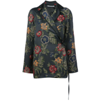 Rosetta Getty Floral Embroidered Wrap Blazer - Preto