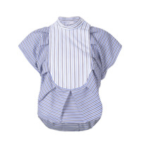 Rosetta Getty Striped Bib Ruffle Shirt - Azul