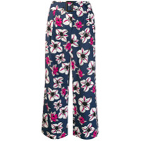 's Max Mara Floral Print Cropped Trousers - Azul