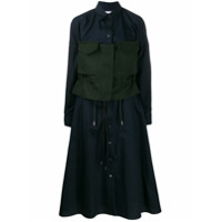 Sacai Contrast Waist Shirt Dress - Azul