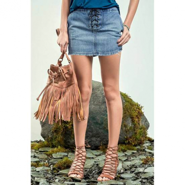 Saia Jeans Na Base Quadradinha Com Transpasse Lace Up