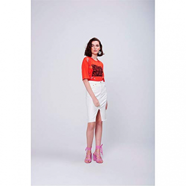 Saia Midi Color Fenda Frente Tam: 44 / Cor: Off-White