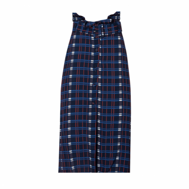 Saia Midi Frances (Estampa Brick Dark Blue, 48)