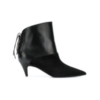Saint Laurent Ankle Boot Com Amarração - Preto