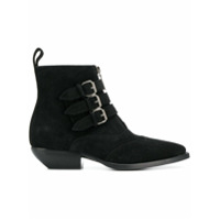 Saint Laurent Ankle Boot Com Fivelas - Preto