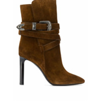 Saint Laurent Ankle Boot Mica Western - Marrom