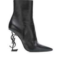 Saint Laurent Ankle Boot 'opyum 110' De Couro - Preto