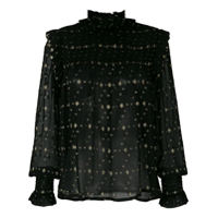 Saint Laurent Blusa De Babados Com Estampa De Diamantes - Preto
