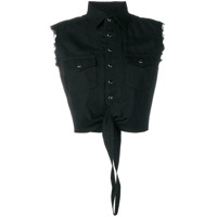 Saint Laurent Camisa Cropped Western - Preto