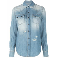 Saint Laurent Camisa Western Destroyed - Azul